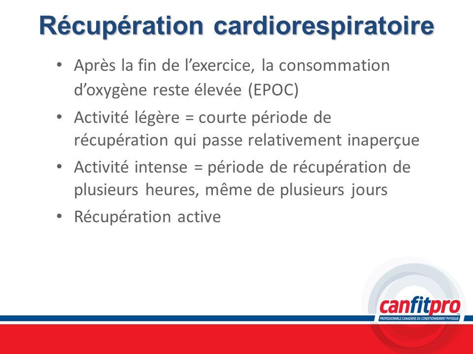 Récupération cardiorespiratoire Après la fin de lexercice, la consommation doxygène reste élevée (EPOC) Activité légère = courte période de récupérati