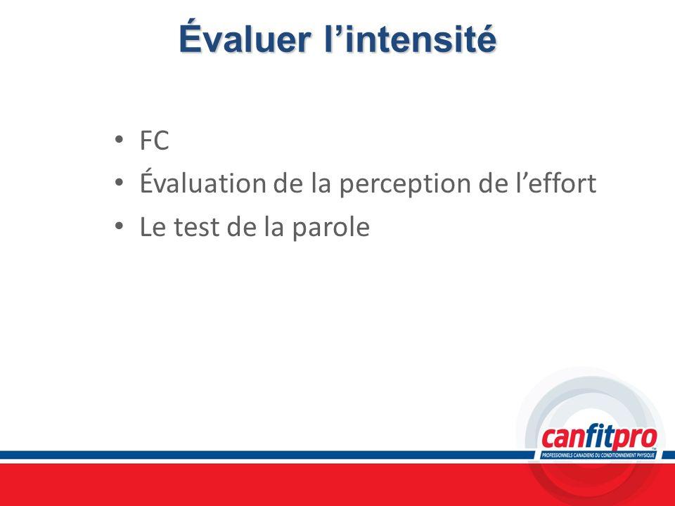 Évaluer lintensité FC Évaluation de la perception de leffort Le test de la parole