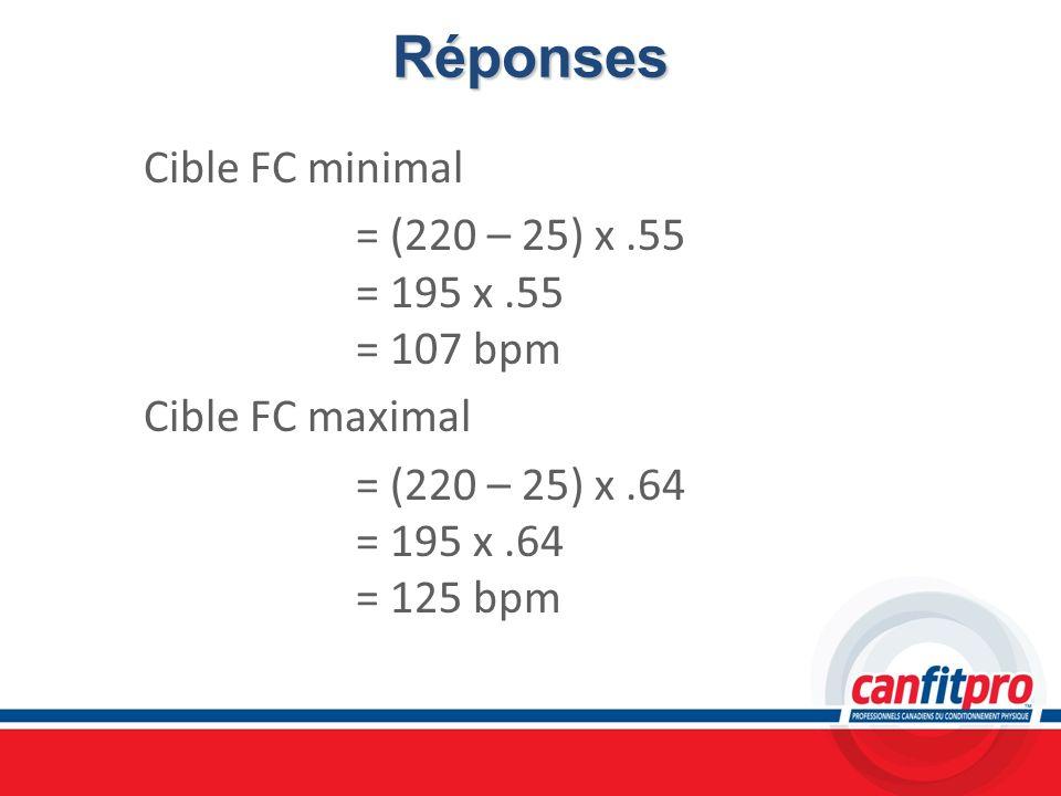 Réponses Cible FC minimal = (220 – 25) x.55 = 195 x.55 = 107 bpm Cible FC maximal = (220 – 25) x.64 = 195 x.64 = 125 bpm