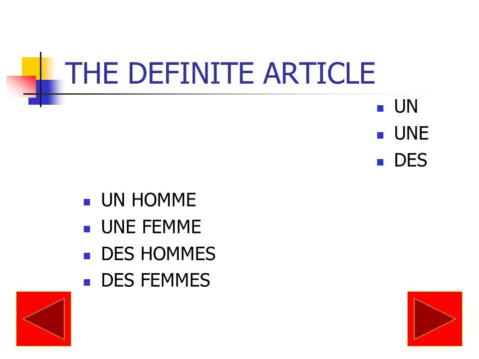 THE DEFINITE ARTICLE UN UNE DES UN HOMME UNE FEMME DES HOMMES DES FEMMES