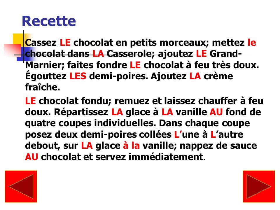 Recette Cassez LE chocolat en petits morceaux; mettez le chocolat dans LA Casserole; ajoutez LE Grand- Marnier; faites fondre LE chocolat à feu très d
