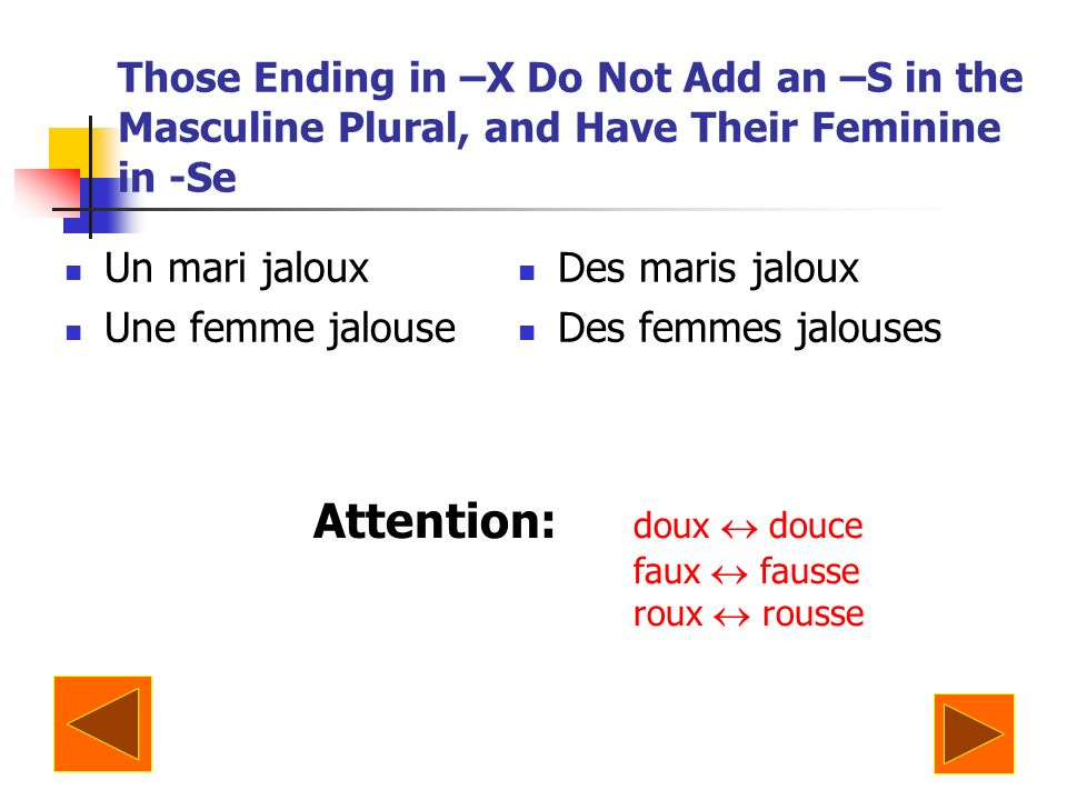 Those Ending in –X Do Not Add an –S in the Masculine Plural, and Have Their Feminine in -Se Un mari jaloux Une femme jalouse Des maris jaloux Des femm