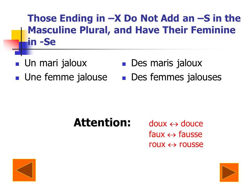 Those Ending in –X Do Not Add an –S in the Masculine Plural, and Have Their Feminine in -Se Un mari jaloux Une femme jalouse Des maris jaloux Des femmes jalouses Attention: doux douce faux fausse roux rousse