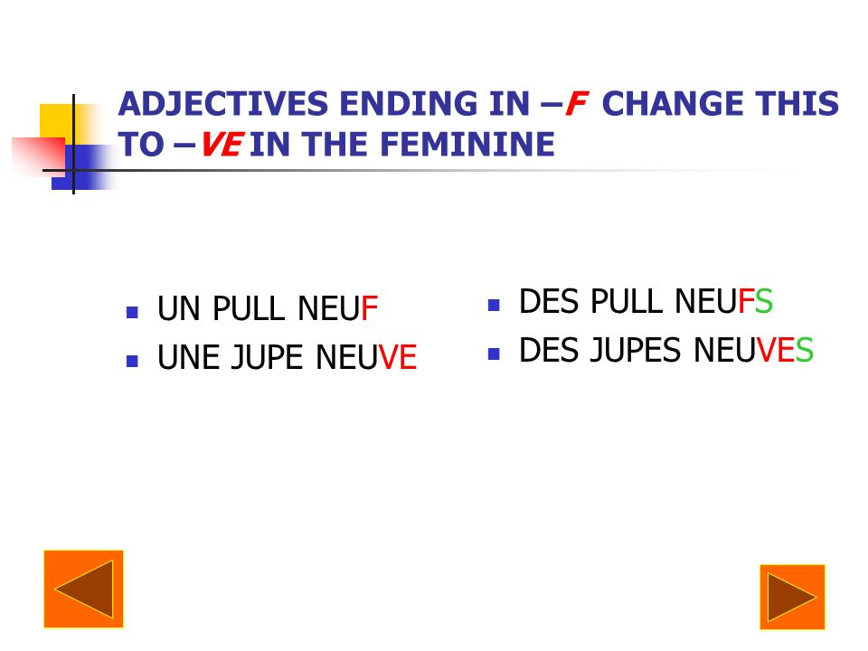 ADJECTIVES ENDING IN –F CHANGE THIS TO –VE IN THE FEMININE UN PULL NEUF UNE JUPE NEUVE DES PULL NEUFS DES JUPES NEUVES