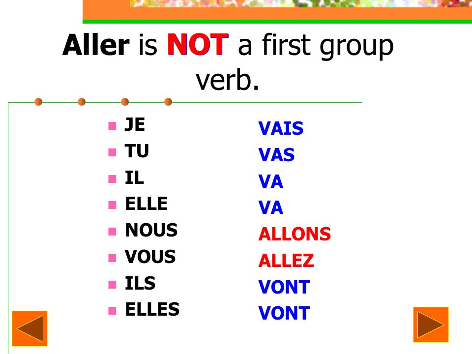 Aller is NOT a first group verb.