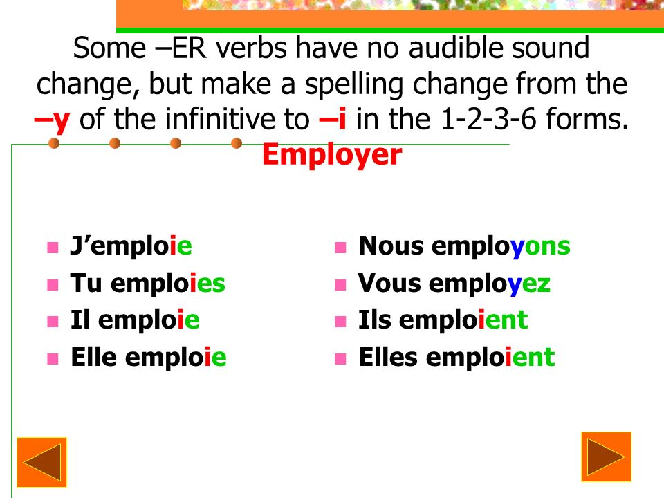 Some –ER verbs have no audible sound change, but make a spelling change from the –y of the infinitive to –i in the 1-2-3-6 forms.