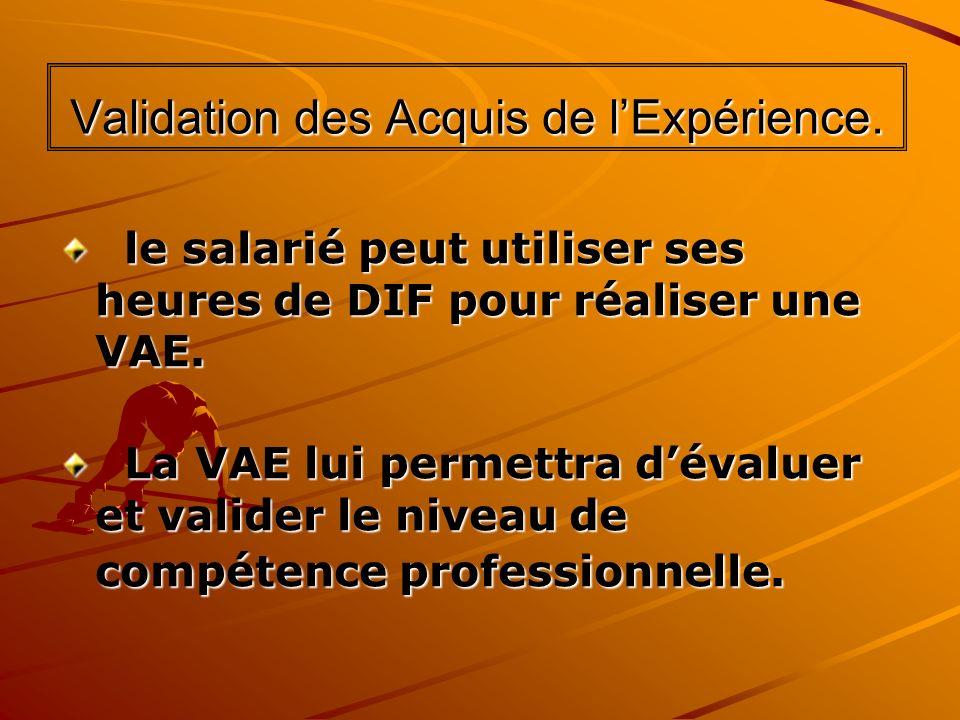 Validation des Acquis de lExpérience. le salarié peut utiliser ses heures de DIF pour réaliser une VAE. le salarié peut utiliser ses heures de DIF pou