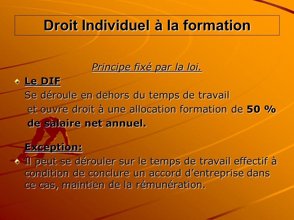 Droit Individuel à la formation Principe fixé par la loi. Le DIF Se déroule en dehors du temps de travail et ouvre droit à une allocation formation de