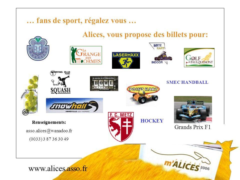 www.alices.asso.fr … fans de sport, régalez vous … Alices, vous propose des billets pour: Grands Prix F1 Renseignements: asso.alices@wanadoo.fr (0033)