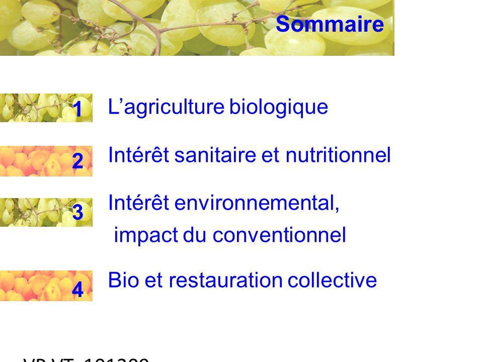 VP VT 101209 Lagriculture biologique Intérêt sanitaire et nutritionnel Intérêt environnemental, impact du conventionnel Bio et restauration collective 12341234 Sommaire