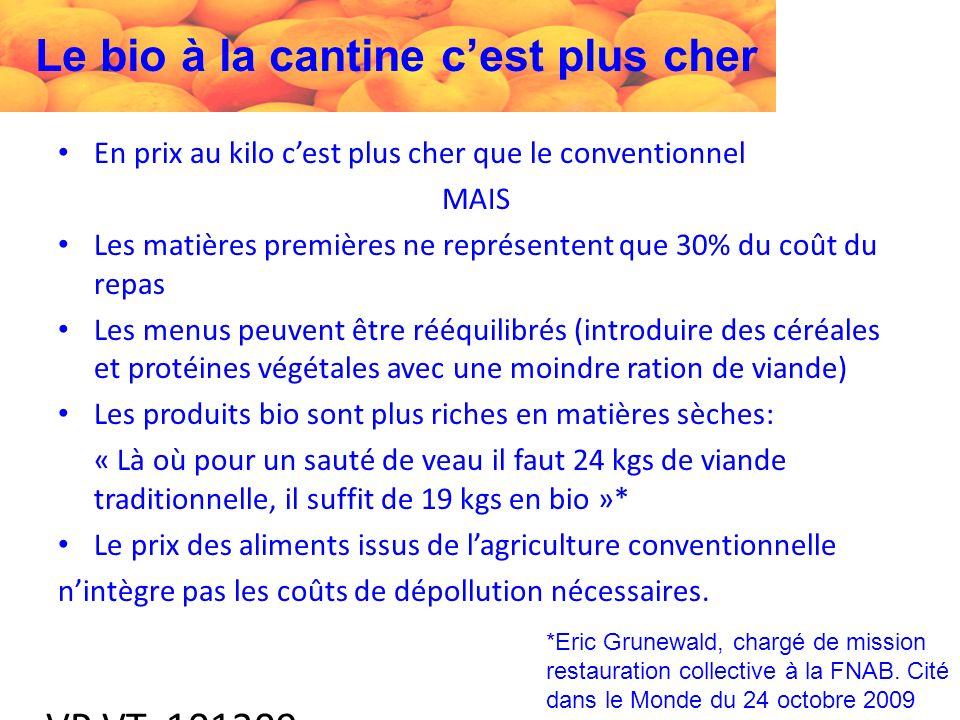 VP VT 101209 Le bio à la cantine cest plus cher En prix au kilo cest plus cher que le conventionnel MAIS Les matières premières ne représentent que 30% du coût du repas Les menus peuvent être rééquilibrés (introduire des céréales et protéines végétales avec une moindre ration de viande) Les produits bio sont plus riches en matières sèches: « Là où pour un sauté de veau il faut 24 kgs de viande traditionnelle, il suffit de 19 kgs en bio »* Le prix des aliments issus de lagriculture conventionnelle nintègre pas les coûts de dépollution nécessaires.