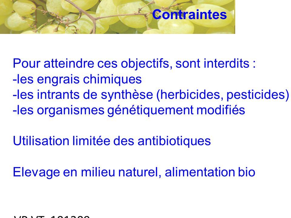 VP VT 101209 Pour atteindre ces objectifs, sont interdits : -les engrais chimiques -les intrants de synthèse (herbicides, pesticides) -les organismes génétiquement modifiés Utilisation limitée des antibiotiques Elevage en milieu naturel, alimentation bio Contraintes