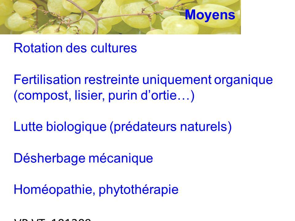 VP VT 101209 Rotation des cultures Fertilisation restreinte uniquement organique (compost, lisier, purin dortie…) Lutte biologique (prédateurs naturels) Désherbage mécanique Homéopathie, phytothérapie Moyens