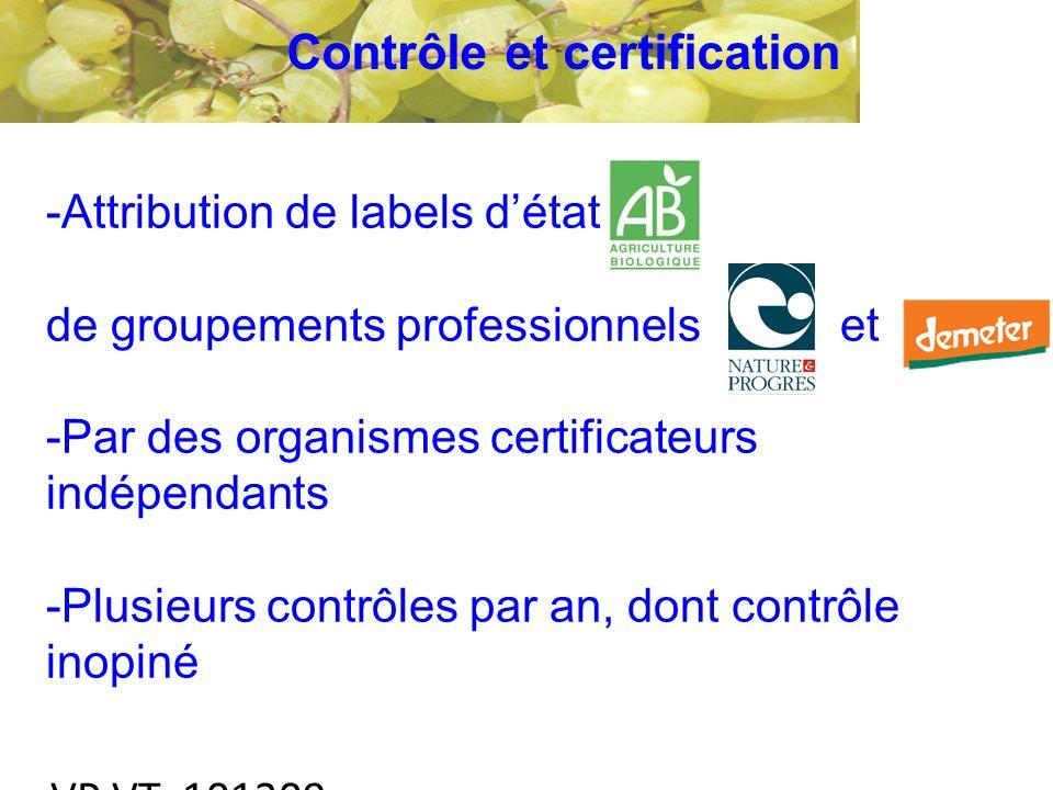 VP VT 101209 -Attribution de labels détat de groupements professionnels et -Par des organismes certificateurs indépendants -Plusieurs contrôles par an, dont contrôle inopiné Contrôle et certification