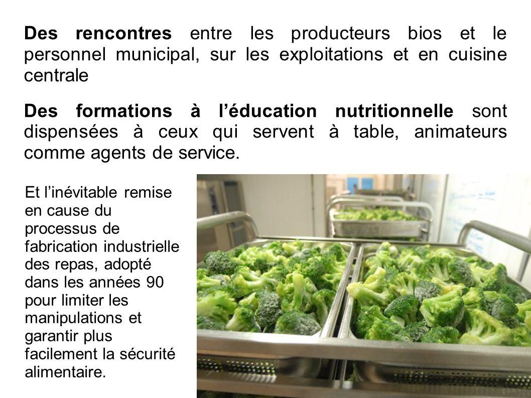 Des rencontres entre les producteurs bios et le personnel municipal, sur les exploitations et en cuisine centrale Des formations à léducation nutritio