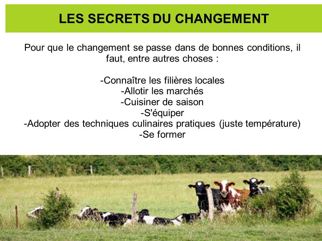 LES SECRETS DU CHANGEMENT Pour que le changement se passe dans de bonnes conditions, il faut, entre autres choses : -Connaître les filières locales -A
