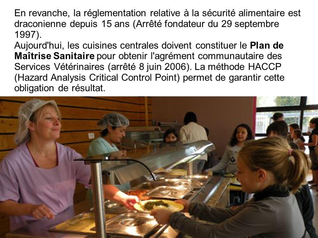 En revanche, la réglementation relative à la sécurité alimentaire est draconienne depuis 15 ans (Arrêté fondateur du 29 septembre 1997). Aujourd'hui,