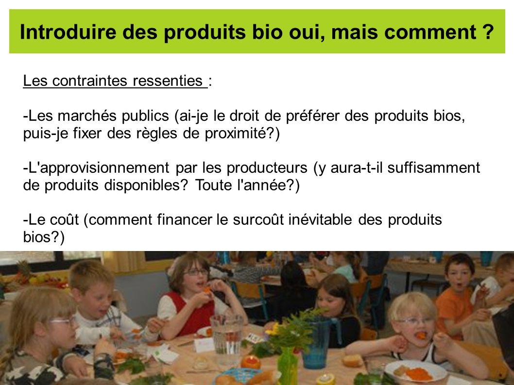 Introduire des produits bio oui, mais comment ? Les contraintes ressenties : -Les marchés publics (ai-je le droit de préférer des produits bios, puis-