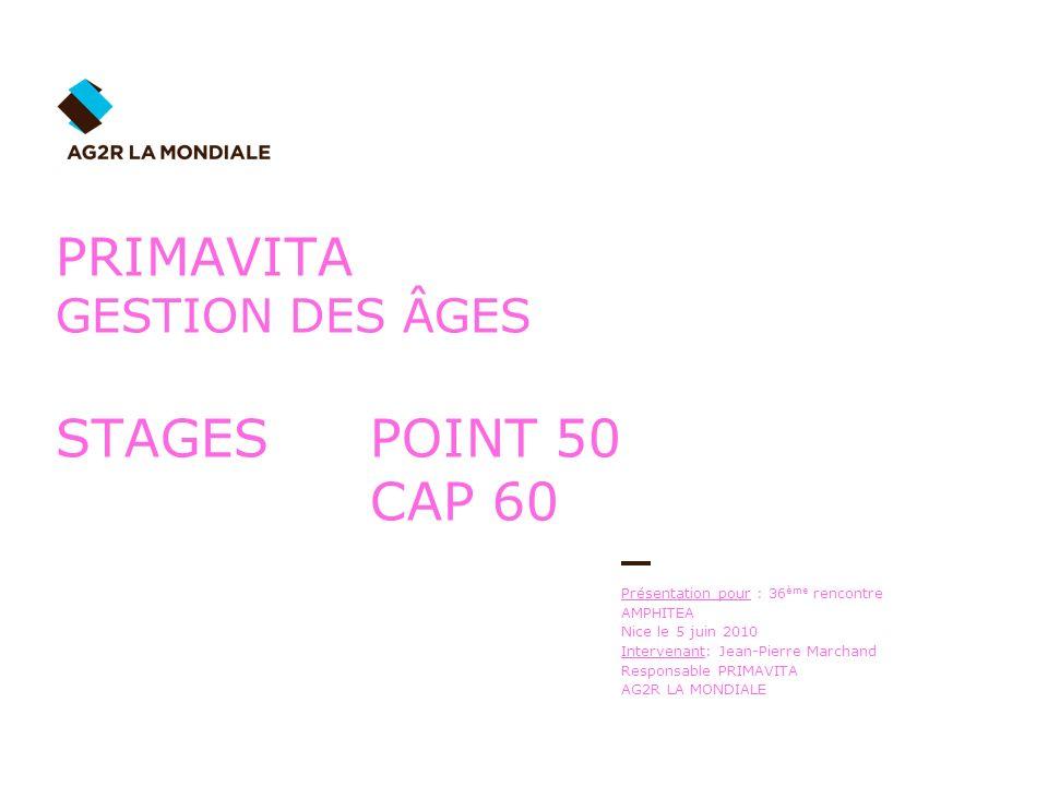 Présentation pour : 36 ème rencontre AMPHITEA Nice le 5 juin 2010 Intervenant: Jean-Pierre Marchand Responsable PRIMAVITA AG2R LA MONDIALE PRIMAVITA G