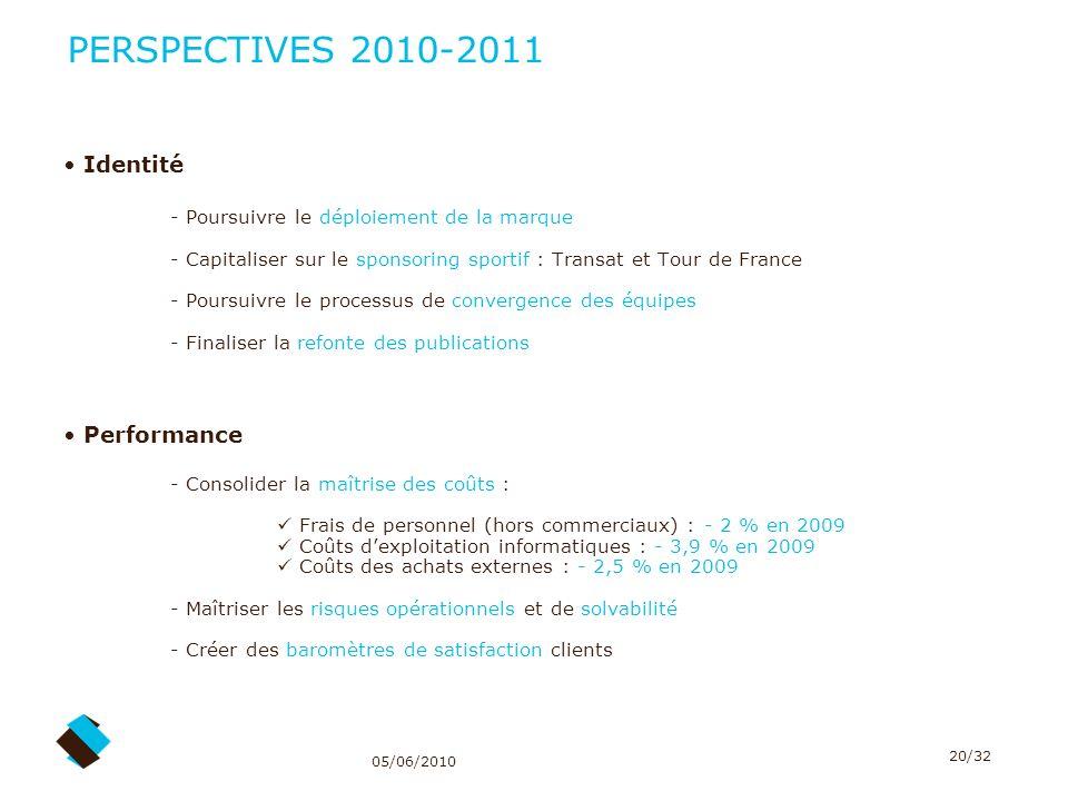 05/06/2010 20/32 PERSPECTIVES 2010-2011 Identité - Poursuivre le déploiement de la marque - Capitaliser sur le sponsoring sportif : Transat et Tour de