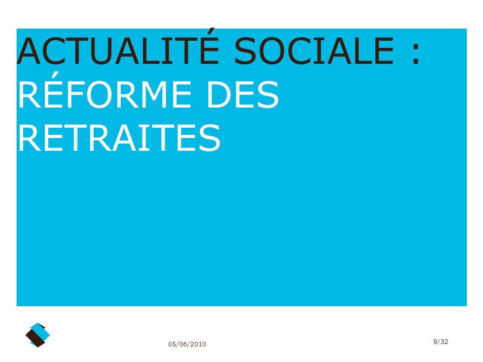 05/06/2010 9/32 ACTUALITÉ SOCIALE : RÉFORME DES RETRAITES