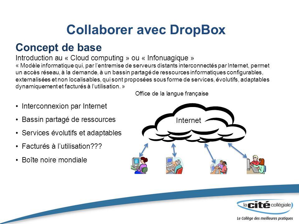Collaborer avec DropBox Concept de base Introduction au « Cloud computing » ou « Infonuagique » « Modèle informatique qui, par lentremise de serveurs distants interconnectés par Internet, permet un accès réseau, à la demande, à un bassin partagé de ressources informatiques configurables, externalisées et non localisables, qui sont proposées sous forme de services, évolutifs, adaptables dynamiquement et facturés à lutilisation.
