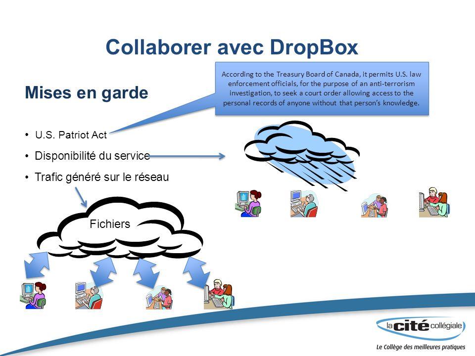 Collaborer avec DropBox Mises en garde U.S.