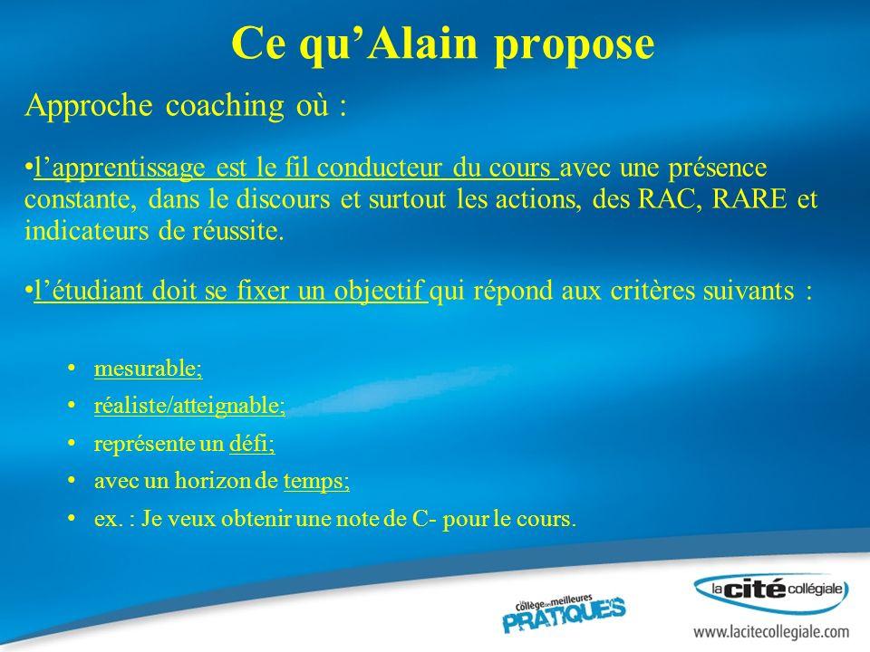Ce quAlain propose Approche coaching où : lapprentissage est le fil conducteur du cours avec une présence constante, dans le discours et surtout les actions, des RAC, RARE et indicateurs de réussite.