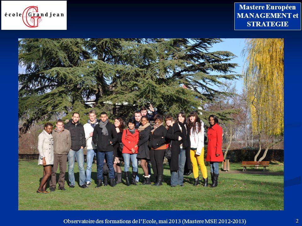 13 Mastere Européen MANAGEMENT et STRATEGIE Observatoire des formations de lEcole, mai 2013 (Mastere MSE 2012-2013) POURSUITE DÉTUDES NON 23,5 % OUI 64,7 % Sans réponse 11,8 %