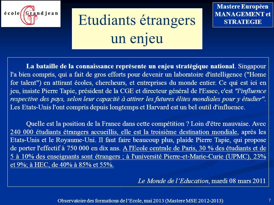 Observatoire des formations de lEcole, mai 2013 (Mastere MSE 2012-2013) 7 Mastere Européen MANAGEMENT et STRATEGIE Etudiants étrangers un enjeu La bataille de la connaissance représente un enjeu stratégique national.