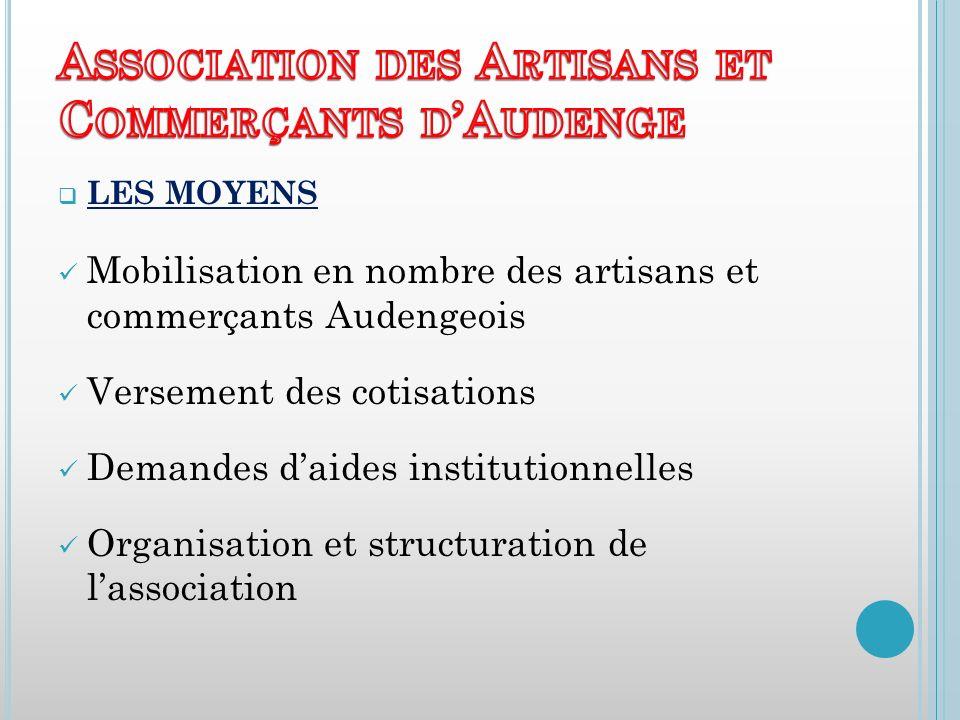 LES MOYENS Mobilisation en nombre des artisans et commerçants Audengeois Versement des cotisations Demandes daides institutionnelles Organisation et structuration de lassociation