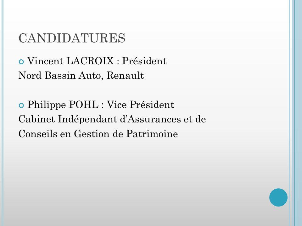 CANDIDATURES Vincent LACROIX : Président Nord Bassin Auto, Renault Philippe POHL : Vice Président Cabinet Indépendant dAssurances et de Conseils en Gestion de Patrimoine