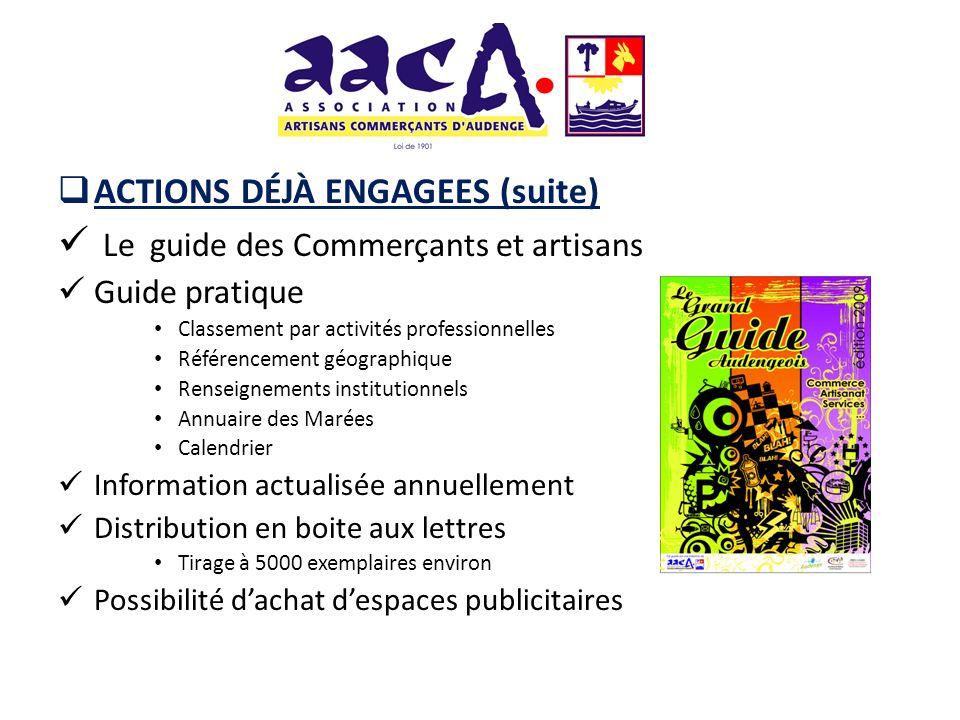 ACTIONS DÉJÀ ENGAGEES (suite) Le guide des Commerçants et artisans Guide pratique Classement par activités professionnelles Référencement géographique