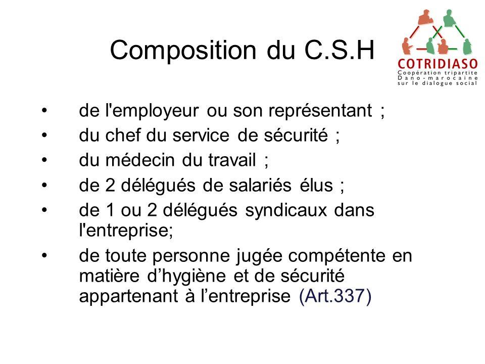 Composition du C.S.H de l'employeur ou son représentant ; du chef du service de sécurité ; du médecin du travail ; de 2 délégués de salariés élus ; de