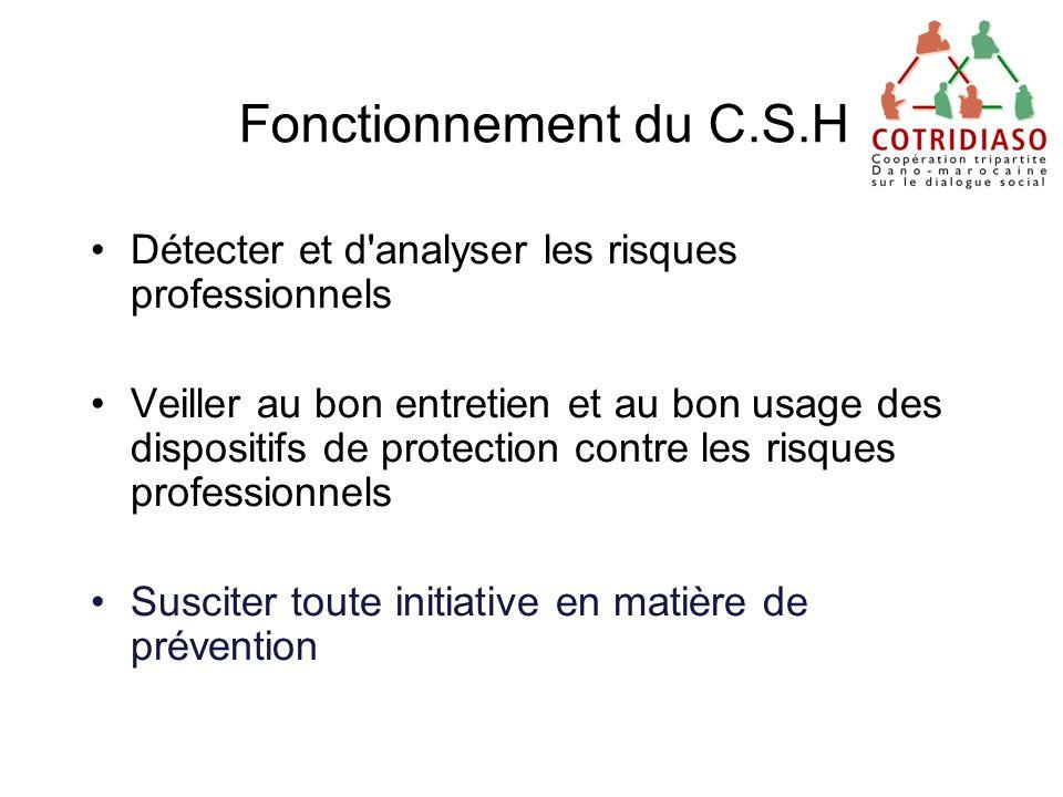 Fonctionnement du C.S.H Détecter et d'analyser les risques professionnels Veiller au bon entretien et au bon usage des dispositifs de protection contr