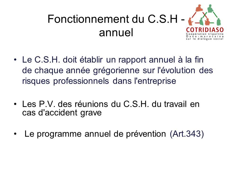 Fonctionnement du C.S.H - annuel Le C.S.H. doit établir un rapport annuel à la fin de chaque année grégorienne sur l'évolution des risques professionn