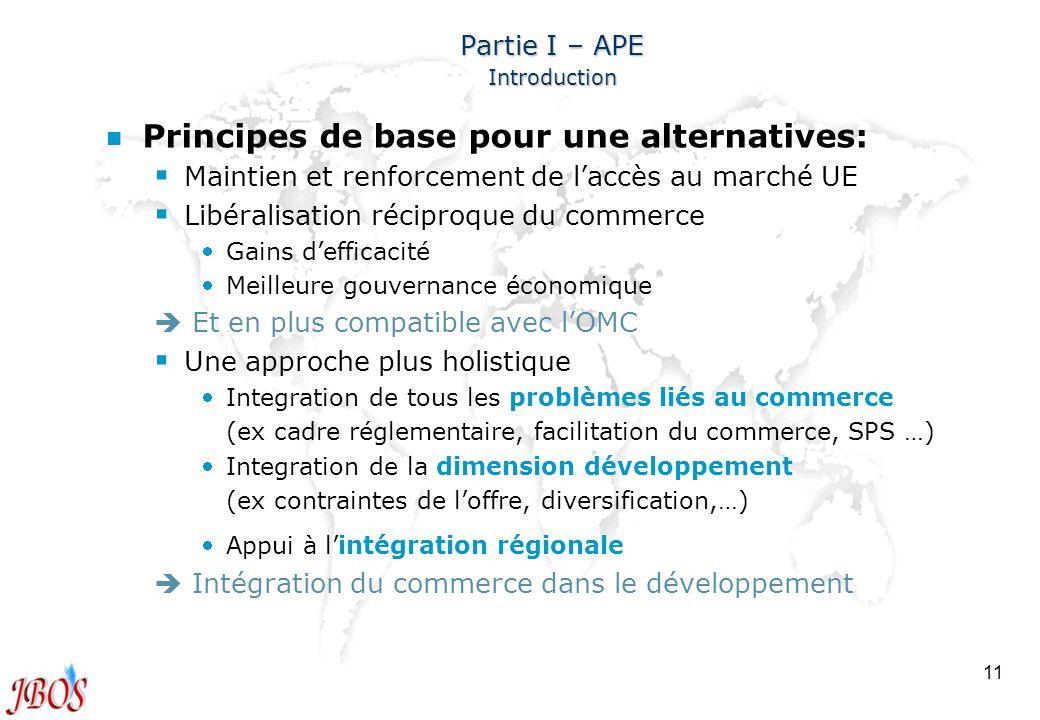 11 Partie I – APE Introduction n n Principes de base pour une alternatives: Maintien et renforcement de laccès au marché UE Libéralisation réciproque