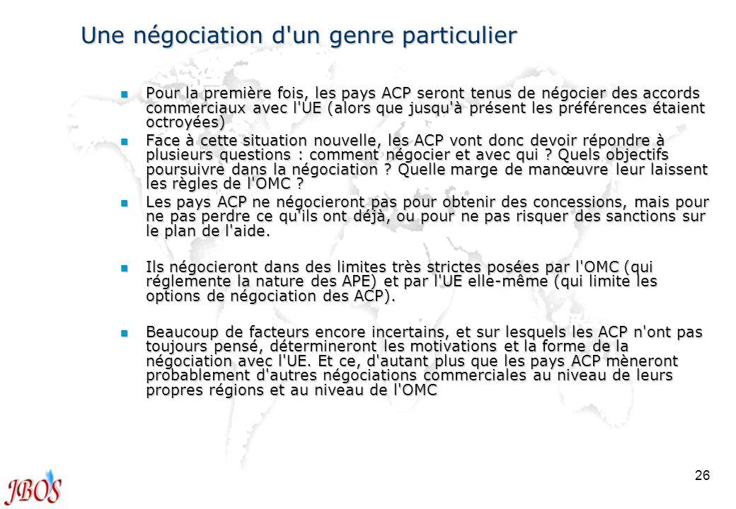 26 Une négociation d'un genre particulier n Pour la première fois, les pays ACP seront tenus de négocier des accords commerciaux avec l'UE (alors que