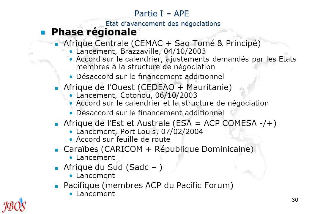 30 Partie I – APE Etat davancement des négociations n Phase régionale n n Afrique Centrale (CEMAC + Sao Tomé & Principé) Lancement, Brazzaville, 04/10