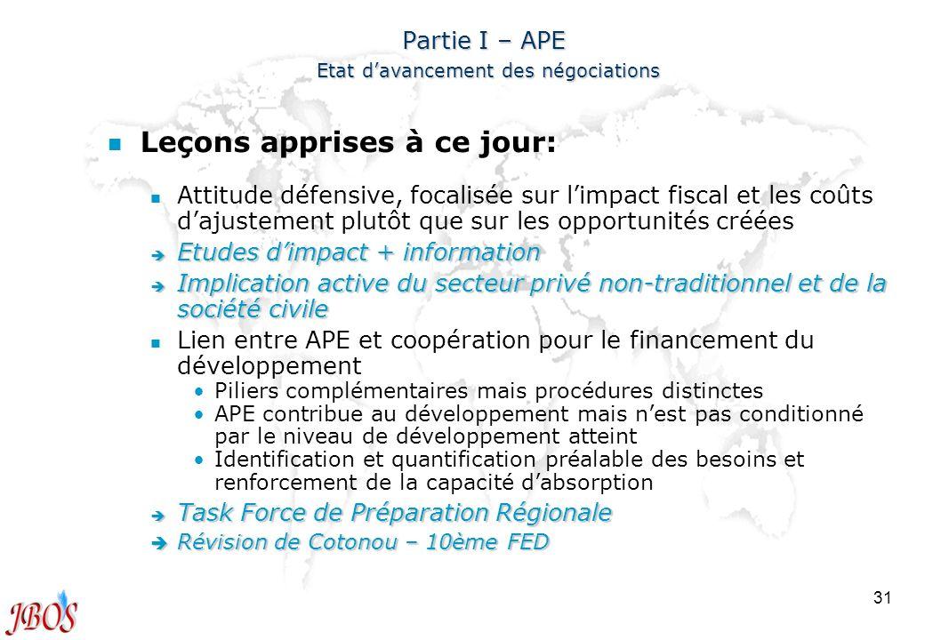 31 Partie I – APE Etat davancement des négociations n n Leçons apprises à ce jour: n n Attitude défensive, focalisée sur limpact fiscal et les coûts d