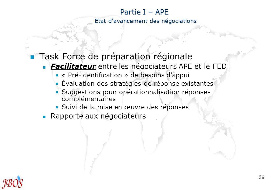 36 Partie I – APE Etat davancement des négociations n n Task Force de préparation régionale n n Facilitateur entre les négociateurs APE et le FED « Pr