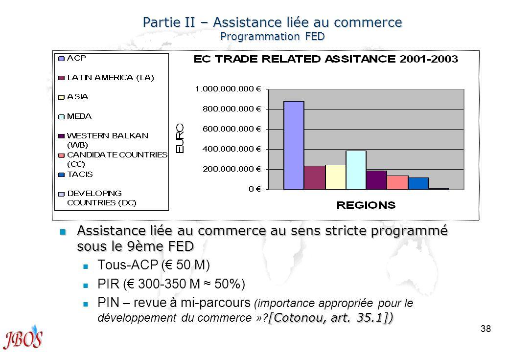 38 Partie II – Assistance liée au commerce Programmation FED n Assistance liée au commerce au sens stricte programmé sous le 9ème FED n n Tous-ACP ( 5