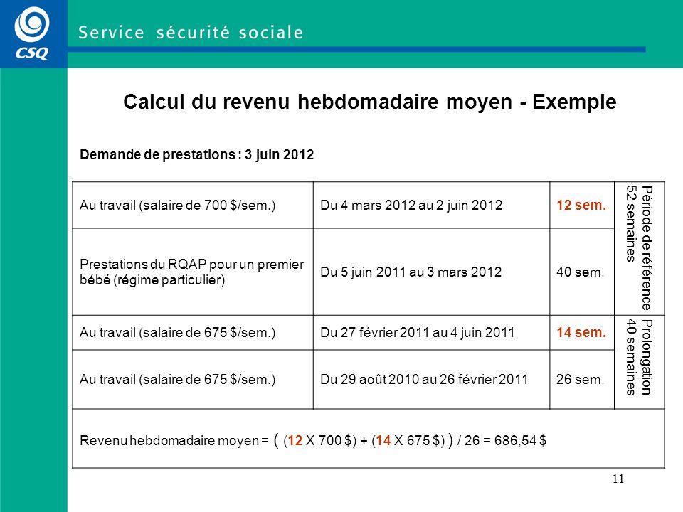 11 Calcul du revenu hebdomadaire moyen - Exemple Demande de prestations : 3 juin 2012 Au travail (salaire de 700 $/sem.)Du 4 mars 2012 au 2 juin 20121