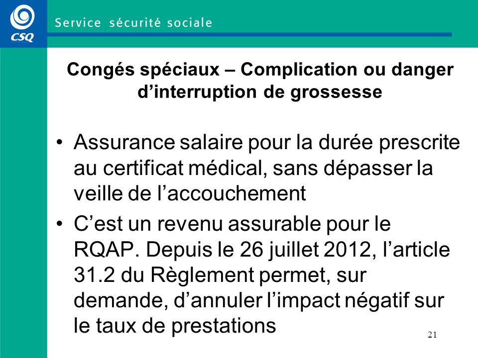 21 Congés spéciaux – Complication ou danger dinterruption de grossesse Assurance salaire pour la durée prescrite au certificat médical, sans dépasser