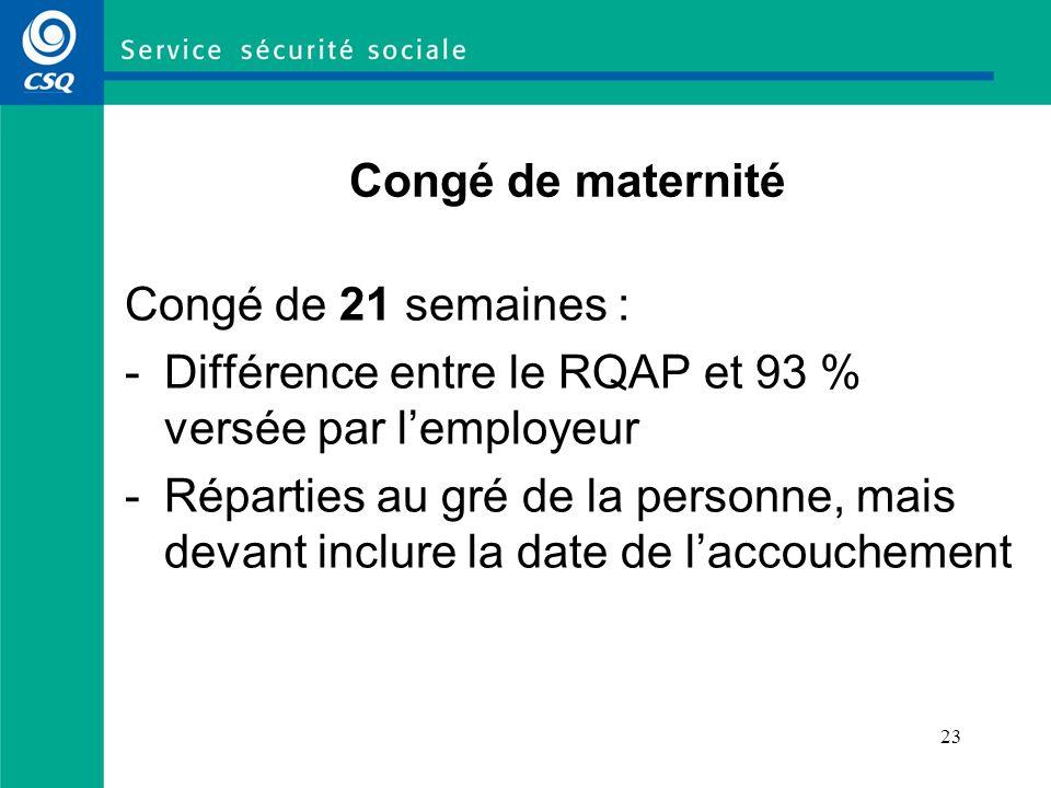 24 Congé de maternité – Exemple 1 Régime de base au RQAP Congé de maternité (21 semaines) Semaines 1 à 18 : 18 prestations de maternité à 70 % + différence versée par lemployeur = 93 % Semaines 19 à 21 : 3 prestations parentales à 70 % + différence versée par lemployeur = 93 % Prolongation sans traitement (congé parental) Semaines 22 à 25 : 4 prestations parentales à 70 % Semaines 26 à 50 : 25 prestations parentales à 55 % Total (21 X 93 %) + (4 X 70 %) + (25 X 55 %) = 3 608 % sur 50 semaines (72,2 % par semaine)