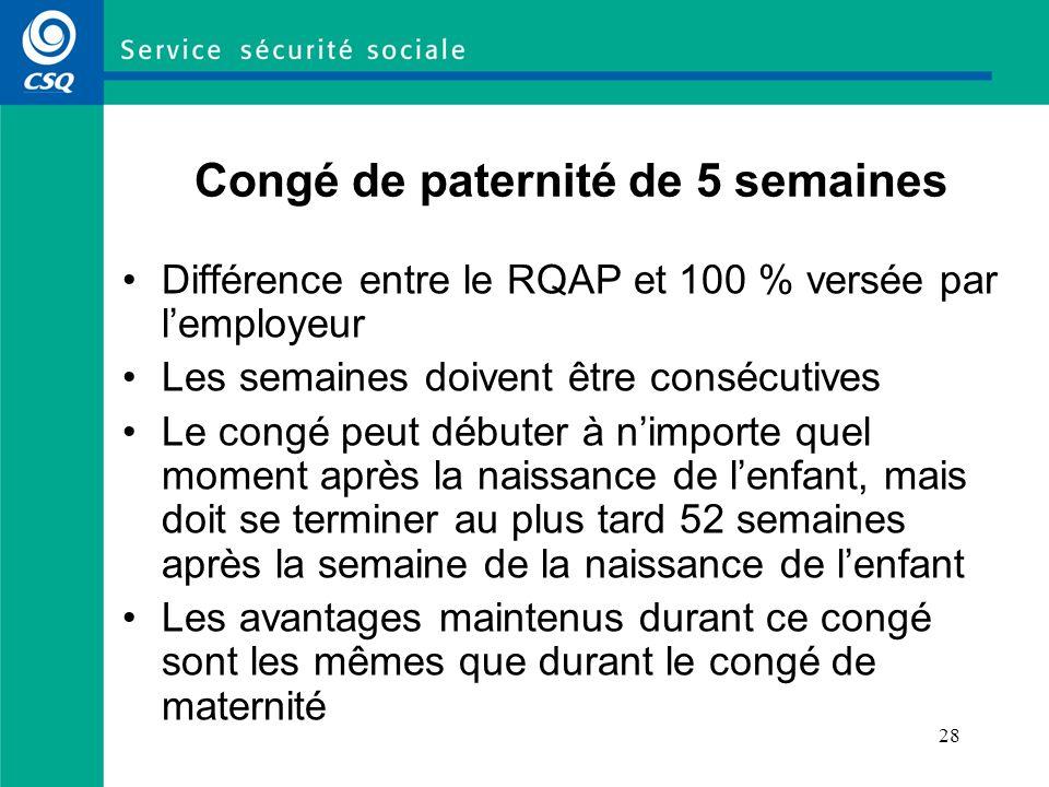 28 Congé de paternité de 5 semaines Différence entre le RQAP et 100 % versée par lemployeur Les semaines doivent être consécutives Le congé peut début