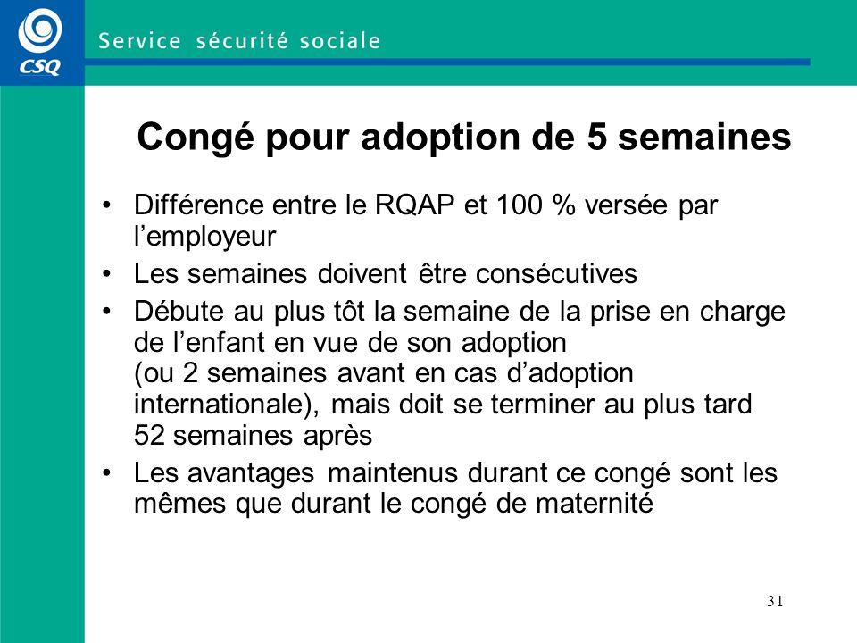31 Congé pour adoption de 5 semaines Différence entre le RQAP et 100 % versée par lemployeur Les semaines doivent être consécutives Débute au plus tôt