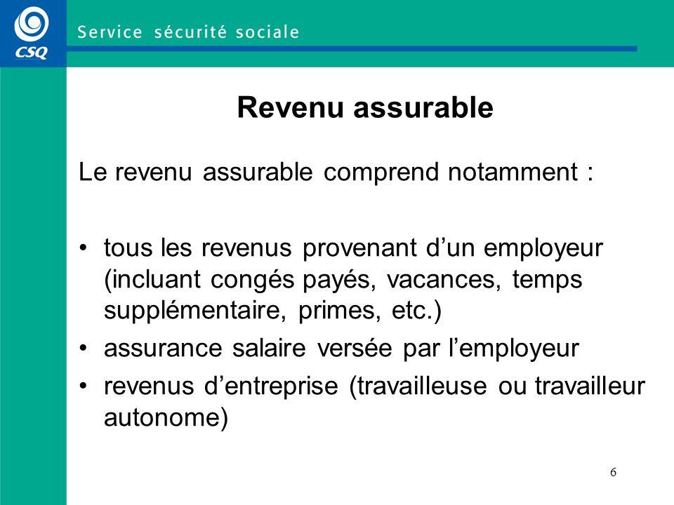 6 Revenu assurable Le revenu assurable comprend notamment : tous les revenus provenant dun employeur (incluant congés payés, vacances, temps supplémen