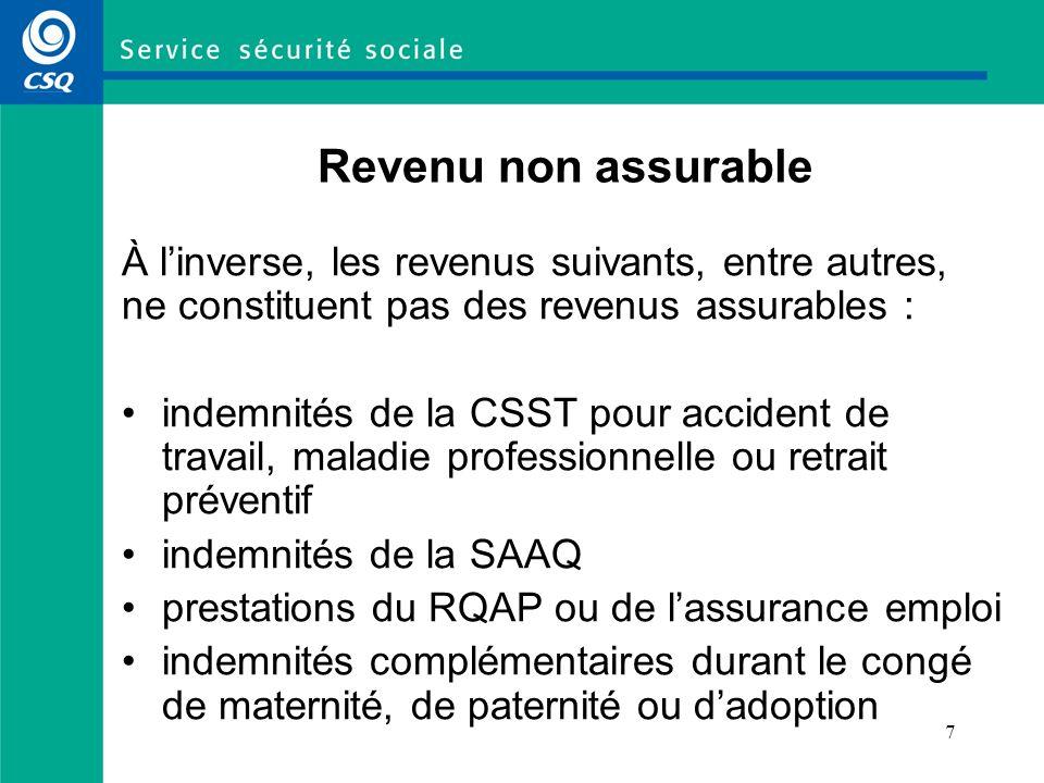 7 Revenu non assurable À linverse, les revenus suivants, entre autres, ne constituent pas des revenus assurables : indemnités de la CSST pour accident