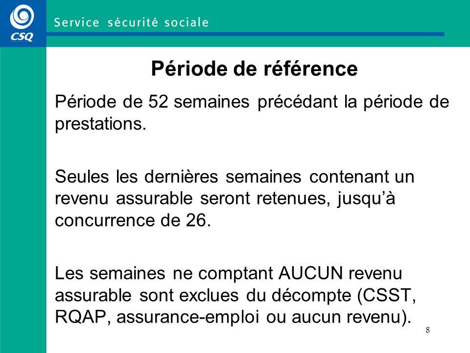 8 Période de référence Période de 52 semaines précédant la période de prestations. Seules les dernières semaines contenant un revenu assurable seront
